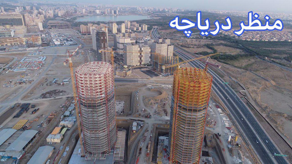 منظره دریاچه چیتگر برج های نیروی زمینی چیتگر